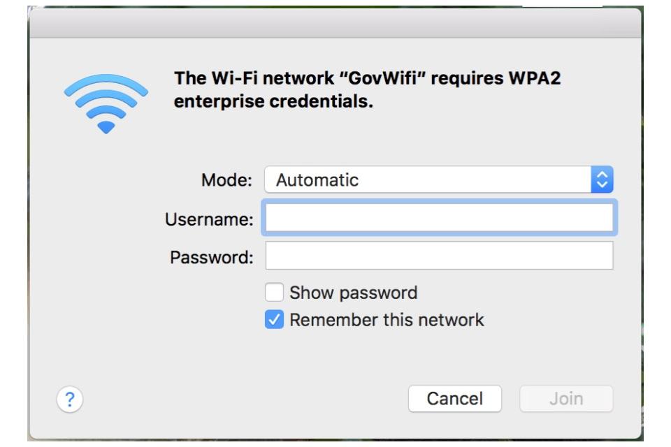 Connect to GovWifi using a Mac, iMac or Macbook - GovWifi