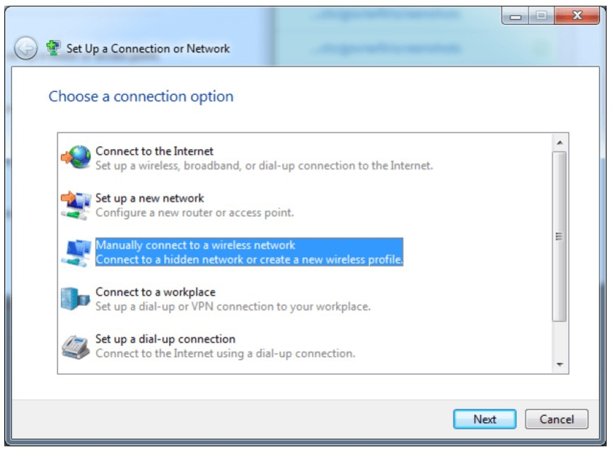 Screenshot of Connection Setup Wizard on Windows 7