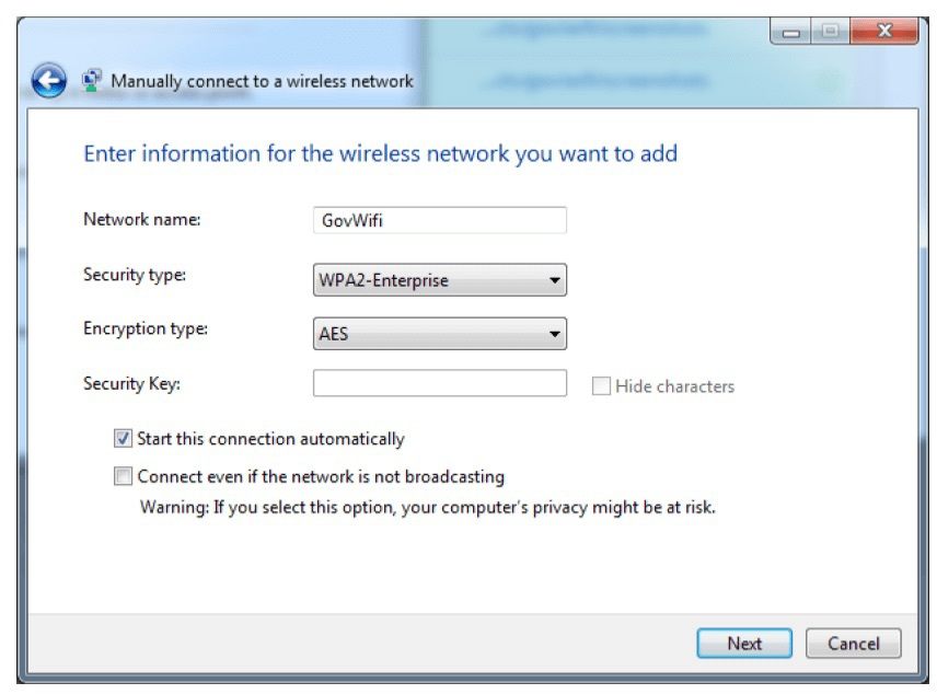 Screenshot of manual WiFi connection panel on Windows 7