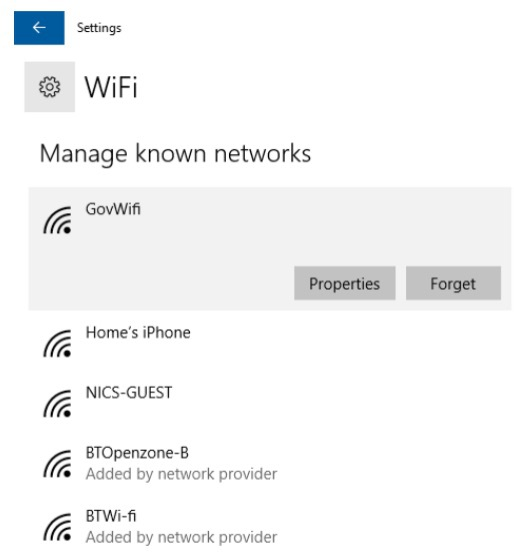 Screenshot of known networks panel on Windows 8/10