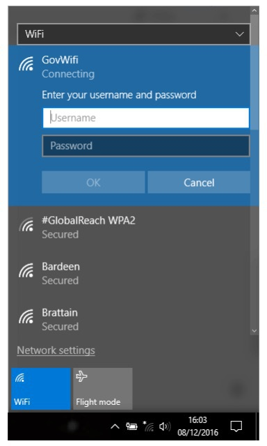 Screenshot of Wifi panel with credentials open on Windows 8/10